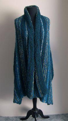 Custom Made Hand Knit Azure Island Shawl Wrap, Lap Blanket, Throw, Full Rectangle, Stylish Comfort Prayer Meditation, FREE Shipping by PeacefulPath on Etsy