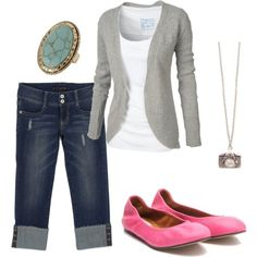 The cardigan and white top and pink shoes!!