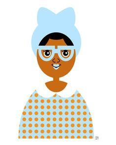 Girl 16 Blue Hat Girl Illustration Art Print by thepairabirds (Art & Collectibles, Prints, little girl art, african american, black girl art, 11x14 print, children print, 5x7 print, blue hat, orange polka dot, blue eyeglasses, brown skin girl, tween girl room, fashionista art, nerdy girl)
