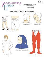 — century Man's Accessories – Style is art Medieval Life, Medieval Fashion, Medieval Dress, Medieval Clothing, Historical Clothing, Larp, Clothing Patterns, Sewing Patterns, 14th Century Clothing