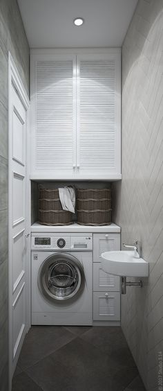 Uma máquina de lavar roupa está instalada no . Small Laundry Rooms, Laundry Closet, Laundry Room Storage, Laundry Room Design, Laundry In Bathroom, Small Bathroom, Laundry Nook, Upstairs Bathrooms, Cuisines Design