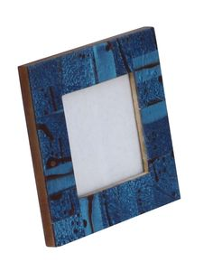 bulk wholesale handmade wooden photo frame in blue black color with abstract patterns decorative