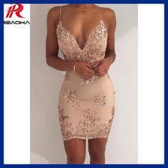 Womens Gold Black Sequins Dress 2017 New Sexy V-neck Backless Women  Sundress Luxury Party Club Wear Mini Sequined Dress Vestidos 1fab8441e07