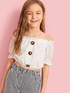 To find out about the Girls Button Detail Schiffli Embroidery Bardot Top at SHEIN, part of our latest Girls Blouses ready to shop online today! Fashion News, Girl Fashion, Fashion Trends, Bardot Top, Girls Blouse, Cute Girl Outfits, Polka Dot Blouse, Crop Shirt, Summer Shirts