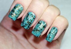 DIY Turquoise Water Marble Stone Nails | Малахитовый (бирюзовый) Водный ...
