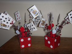 i made these for my upcoming casino party as centerpieces they are made of cards - Casino Decorations