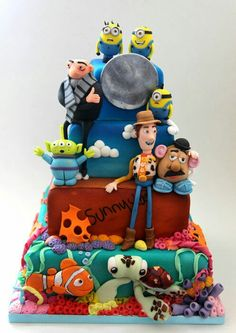 Awesome cake for toy story / despicable me/ finding nemo party