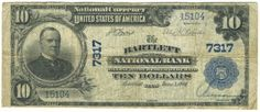 Somewhere between 15 and 20 large size notes exist from The Bartlett National Bank. The example offered here is a late issue plain back.