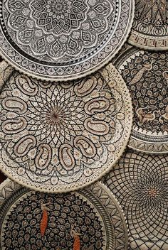 Very intricate Moroccan trays. Astounding details. #Moroccan #Decor #Trays #Handmade.