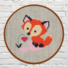 Etsy fox cross stitch