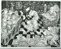 from my series on lawyers, etching. gail siptak