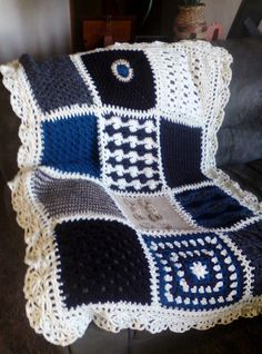 Sampler style afghan