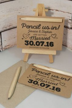 From 15p each - PENCIL US IN - DIY - SAVE THE DATE Cards kraft brown/white/cream