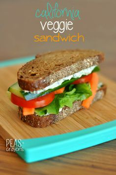 California Veggie Sandwich + Spinach Dip Spread | Peas and Crayons