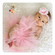 Baby Girl portrait with a new pink tutu and an ice cream shimmer headband from Daisy and Honeybee.