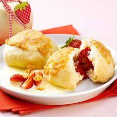 Kynuté jahodové knedlíky French Toast, Eggs, Breakfast, Food, Desserts, Kochen, Food Portions, Easy Meals, Food Food