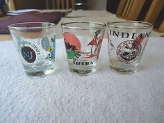 "Vintage Set Of 3 Shot Glasses,1 Indiana,1 New Jersey,1 Florida "" AWESOME SET "" #vintage #collectibles #home #kitchen"