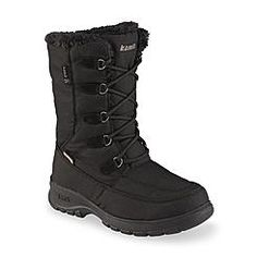 Kamik Women's Brooklyn Black Faux Fur Water-Resistant Mid-Calf Winter Snow Boot - Wide Width
