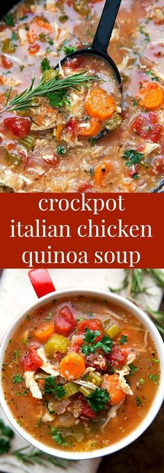 SUPER simple slow cooker (dump it and forget it!) Italian Chicken, Quinoa, and Vegetable Soup SUPER simple slow cooker (dump it and forget it!) Italian Chicken, Quinoa, and Vegetable Soup Crock Pot Recipes, Crock Pot Soup, Crock Pot Slow Cooker, Crock Pot Cooking, Slow Cooker Recipes, Chicken Recipes, Cooking Recipes, Healthy Recipes, Slow Cooker Quinoa