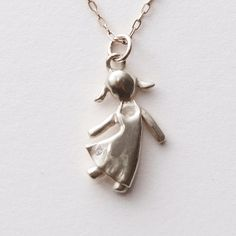 Child Pendant, Sterling Silver and Diamond Pendant, girl silver diamond pendant, mother's necklace, father's pendant, baby pendant. $105.00, via Etsy.