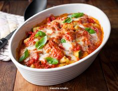 Italian Gnocchi Baked in Tomatoe Sauce with Vegetables and Mozzarella Casserole Recipes, Pasta Recipes, Italian Gnocchi, Baked Gnocchi, Pasta Dinners, Lunch Recipes, Ricotta, Mozzarella, Cheeseburger Chowder