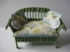 Quarter scale miniature wicker loveseat by CherylHubbardMinis on Etsy Green Cactus, Cushion Fabric, White Silk, Rocking Chair, Cheryl, Seat Cushions, Blue Flowers, Wicker, Love Seat