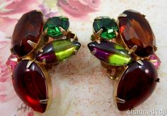 Vintage Chunky Glass Rhinestone Cluster Earrings Multi-Color Clips Mid Century #Unbranded #Cluster SOLD