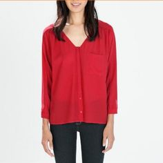 EUROPEAN AND AMERICAN STYLE NEW FASHION LADIES' V NECK SOLID COLOR SINGLE POCKET CASUAL LOOSE CHIFFON SHIRT 1542