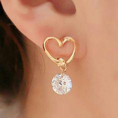 """ Aphrodite"" Heart Shaped Crystal Earrings Gold heart shaped earrings with cute dangling crystal Wild Plum Boutique  Jewelry Earrings"