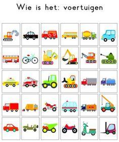 Een alternatieve kaart voor het spel 'Wie is het'. Onderwerp: voertuigen.