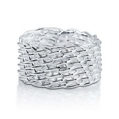 925 Plain Sterling Silver Wire Basket Weave Ring Band  style number: r704  $46.99