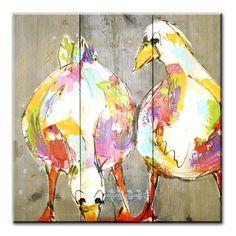 Schilderijen op steigerhout met vrolijke beesten. Onze kunstenaars hebben leuke en grappige schilderijen op steigerhout voor je gemaakt.