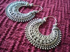 Tribal Filigree Ethnic Gypsy Earrings Silver Brass Gold Tone Dangle Hoop Spiral Detail Funky Unique 20 18 gauge 1mm Normal Standard Piercing...