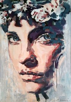 """flowers crowned"" acrylic on canvas, artist: nicol lunardi, www. Fine Art, Canvas, Face, Artist, Artwork, Flowers, Painting, Printmaking, Graphics"