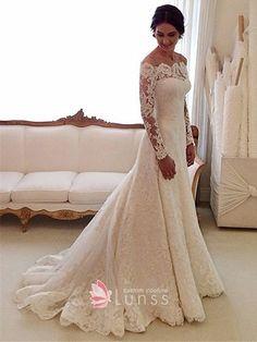 8c4c394da433a Scalloped illusion long sleeve ivory lace off the shoulder mermaid wedding  dress Wedding Dresses Under 500