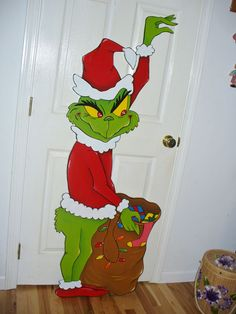 HAND MADE GRINCH STEALING CHRISTMAS LIGHTS YARD ART DECORATION. 62'' x 23'' Grinch Christmas Decorations, Whoville Christmas, Elegant Christmas Decor, Christmas Yard Art, Grinch Stole Christmas, Christmas Drawing, Christmas Crafts, Christmas Arrangements, Christmas Kitchen