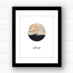 Siena, Italy map art | Italy print | Italy wall art print | Siena Italy print | Siena skyline map art | city skyline map art | travel poster