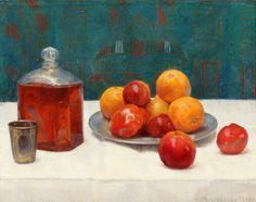 SOLGT. Einar Wegener: Opstilling med frugter og karaffel på et bord. Sign. E. M…
