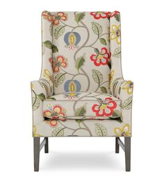 Look at that pattern match and I like the contrasting solid gray welt! Pattern Matching, Mandalay, Wingback Chair, Accent Chairs, Inspirational, Embroidery, Gray, Furniture, Home Decor