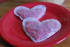 See-through Valentines: wax paper hearts sewn together & filled with candy.