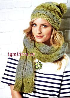 Теплый мягкий комплект: шапочка и шарф с волнистым ажурным узором. Вязание спицами