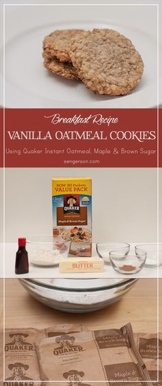Make breakfast easy and delicious with these vanilla oatmeal breakfast cookies - super easy to make with just a few ingredients that are already in the cupboard! Instant Oatmeal Cookies, Quaker Instant Oatmeal, Oatmeal Breakfast Cookies, Oatmeal Cookie Recipes, Quaker Oatmeal Cookies, Instant Oatmeal Recipes, Oatmeal Scotchies, Oatmeal Muffins, Baked Oatmeal
