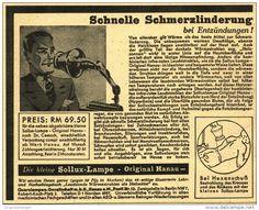 Original-Werbung/ Anzeige 1935 - ORIGINAL HANAU SOLLUX LAMPE / QUARZLAMPEN GESELLSCHAFT - ca 140 x 110 mm