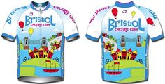 Bristol - A Cycling City. This jersey is a recent competition winner and designed in Bristol to celebrate its cycling city status. We believe it shows Bristol on a sunny day. Technically it is an eight panelled, classic style, raglan sleeve jersey.    Available in sizes - S, M, L, XL, 2XL, 3XL, 4XL, 5XL and 6XL and lengths - Short, Regular and Long.