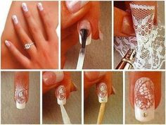 Unhas com renda / #nails with lace