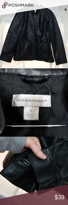 Christopher and Banks XL Pleather jacket This is in EUC. All hardware works,  two side pockets. No rips,  tears,  or stains.  Please ask if you have questions.  Always open to reasonable offers or bundle discounts.  Thanks for stopping by.  UPC 8 Christopher & Banks Jackets & Coats