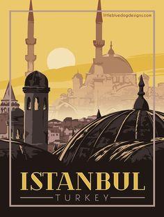 Istanbul Turkey Vintage Travel Poster   Etsy