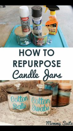 Simple tutorial to help you remove wax residue from candle jars and use them in your home decor. I love how these turned out! home diy projects How To Repurpose Candle Jars + Target GiftCard Giveaway Old Candle Jars, Old Candles, Mason Jars, Clean Candle Jars, Candle Jar Reuse, Reuse Jars, Reuse Containers, Beeswax Candles, Glass Containers