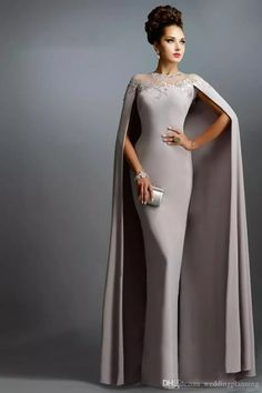 LOVE Prom Dresses Janique Dresses Champange Chiffon Long Mermaid Mother of the Bride Dresses With Cape 2015 Long Formal Evening Gowns abendkleider Elegant Dresses, Pretty Dresses, Unique Dresses, Stylish Dresses, Simple Dresses, Evening Dresses, Prom Dresses, Bride Dresses, Wedding Dresses