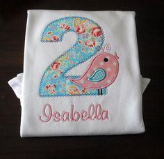 Girl's  Bird Birthday Shirt